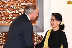 Paul Polman, CEO of Unilever, meeting the State Counsellor of Myanmar